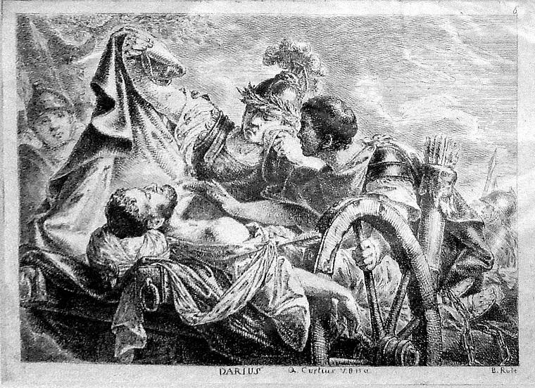 Александр укрывает Дария плащом