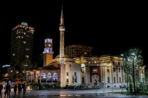 Tirana Night, Et'hem Bey Mosque and Clock Tower