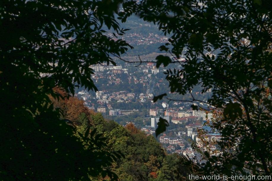 Вид на Софию от Боянского водопада.