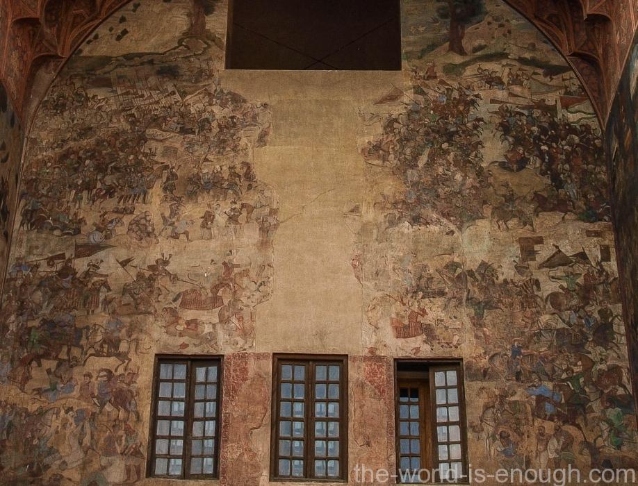 Война с узбеками, фреска портала базара Гейсарие, Исфахан