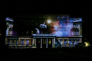 Belgrade Night,light show on the facade of the building of the Old Palace
