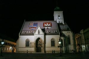 Zagreb Night St. Mark`s Church